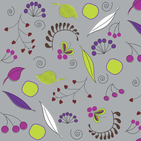 Botanical Dream on Grey fabric by vanillabeandesigns on Spoonflower - custom fabric