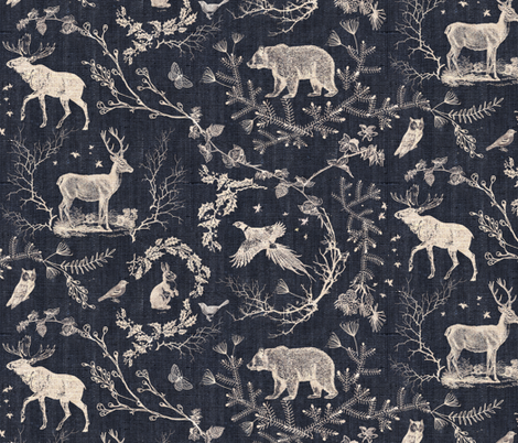 Woodland Winter Toile (in Coal) fabric by nouveau_bohemian on Spoonflower - custom fabric
