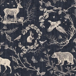 Woodland Winter Toile (in Coal) MED