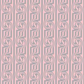 Pink Grey Swirly Stripes