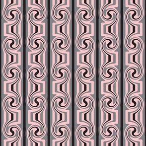 Art Nouveau Pink Grey Black Swirly Stripes
