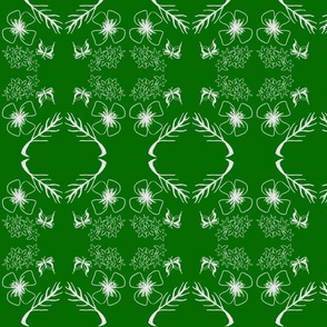 Green & white Batik flowers