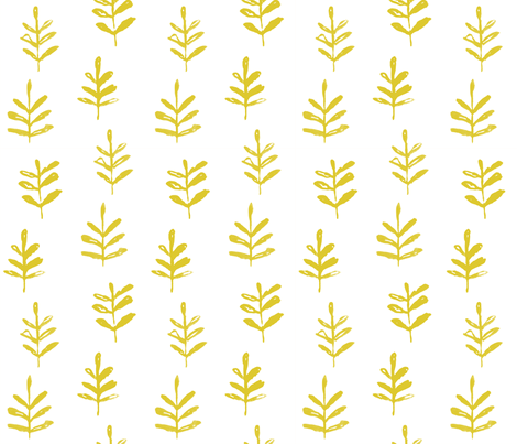 Sprigs Citron White fabric by jillbyers on Spoonflower - custom fabric