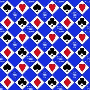Cut the Cards 4 suit colors Blue Background