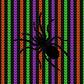 halloween knit stripes and spiders