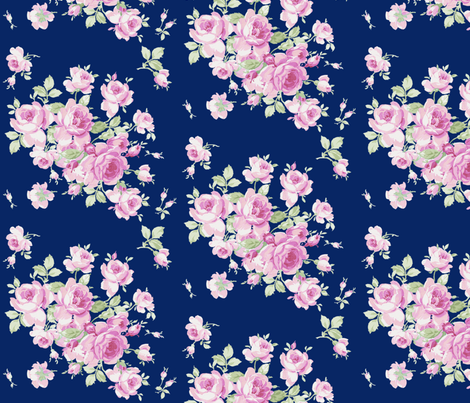 Lake Maria Pink Roses on ink fabric by lilyoake on Spoonflower - custom fabric