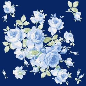 Lake Maria Summer Blue Roses on ink