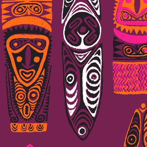 New Guinea Masks 2b fabric by muhlenkott on Spoonflower - custom fabric