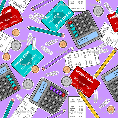 Accounting / Accountant Themed Pattern Purple