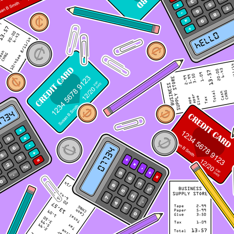 Accounting / Accountant Themed Pattern Purple fabric by jannasalak on Spoonflower - custom fabric