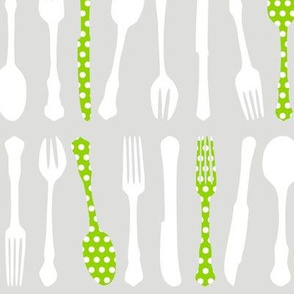 Cutlery Polka Lime
