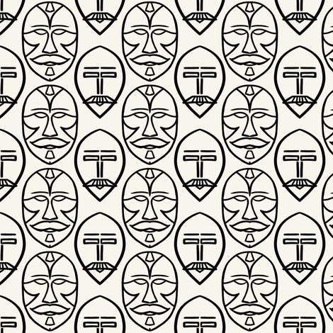 Mustaches in masks, black + off-white by Su_G fabric by su_g on Spoonflower - custom fabric