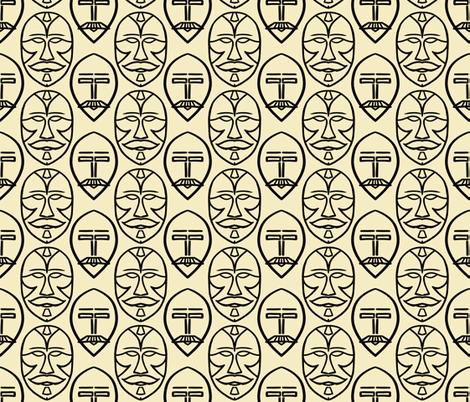 Mustaches in masks on ecru by Su_G fabric by su_g on Spoonflower - custom fabric