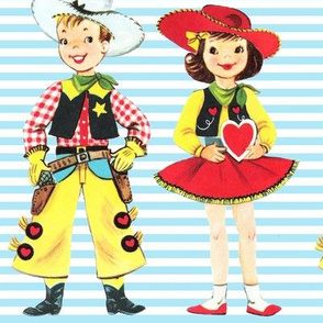 vintage kids kitsch cowboys cowgirls texas wild wild west western valentines stripes children sheriffs boys girls hearts