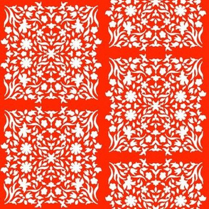Middle Eastern Chinese Paper-Cut Panels White on Red