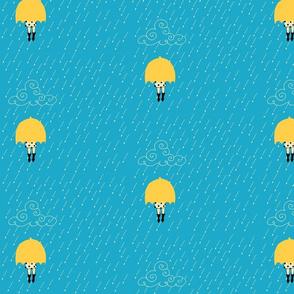 Yellow umbrella true blue