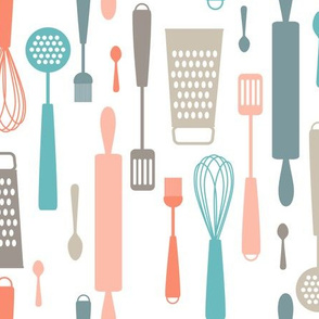kitchen fabric wallpaper gift wrap spoonflower discount wallcovering utensils silhouettes