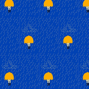 Yellow umbrella blue