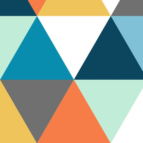 Triangle - navy, orangle, grey