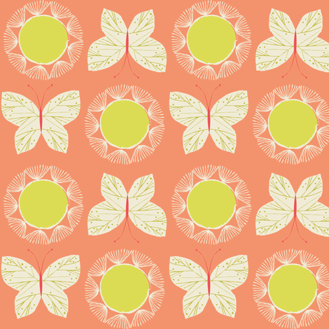 Sunshine butterfly fabric by bethan_janine on Spoonflower - custom fabric