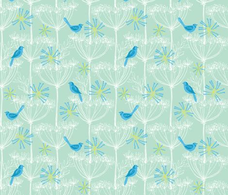 Blue birds mini fabric by bethan_janine on Spoonflower - custom fabric