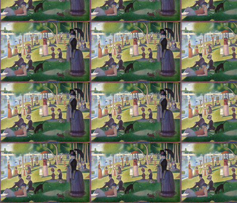 A Sunday Afternoon with a Blue Box - Georges Seurat - 1884 (small) fabric by studiofibonacci on Spoonflower - custom fabric