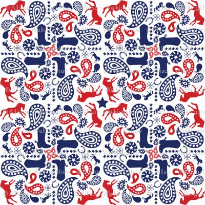 Western Paisley Red & Navy