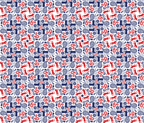 Western Paisley Red & Navy fabric by aawalkie on Spoonflower - custom fabric