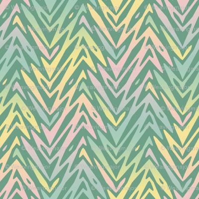 rainbow feather zigzag