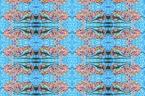 Calypso seahorse - horizontal fabric by tornpaperpaintings on Spoonflower - custom fabric
