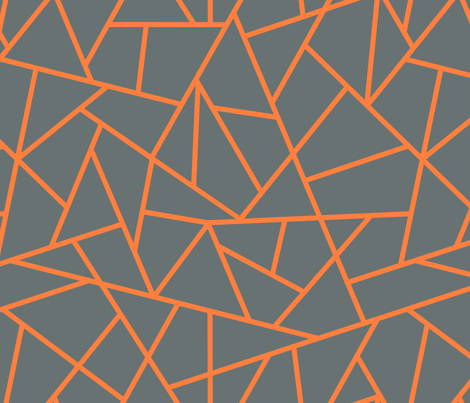 Abstract Geometric Tangerine on Shadow  Large fabric by sierra_gallagher on Spoonflower - custom fabric