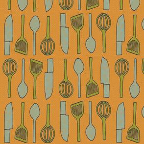 utensils apricot orange