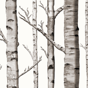 Birch Grove Fabric and Wallpaper in Warm Grey and Linen White