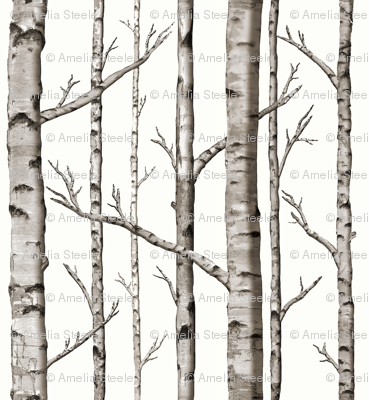 Smaller Scale Birch Grove in Warm Grey and Linen White