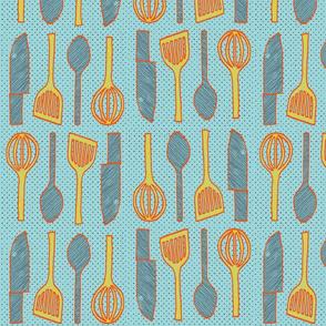 utensils aqua blue