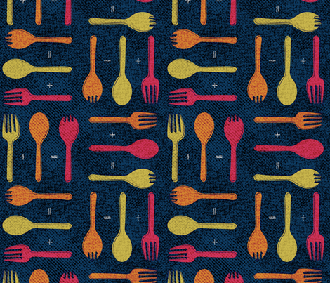 Forks, Spoons and Sporks fabric by jenflorentine on Spoonflower - custom fabric