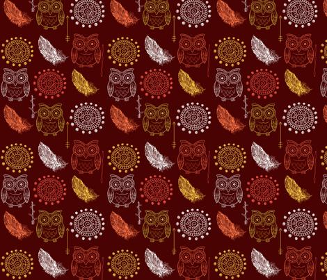 SouthWestern Owl fabric by charldia on Spoonflower - custom fabric