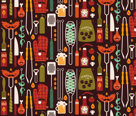 My summer utensils fabric by verycherry on Spoonflower - custom fabric