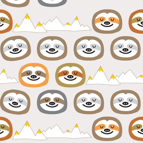 The Slothful Ones fabric by littleoddforest on Spoonflower - custom fabric