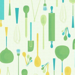 Kitchen Utensils Wallpaper kitchen utensils wallpaper - badger&bee - spoonflower