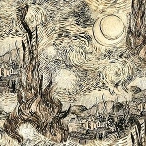 Sepia Starry Night Drawing, Van Gogh