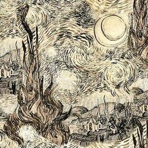 Sepia Starry Night Drawing, Van Gogh