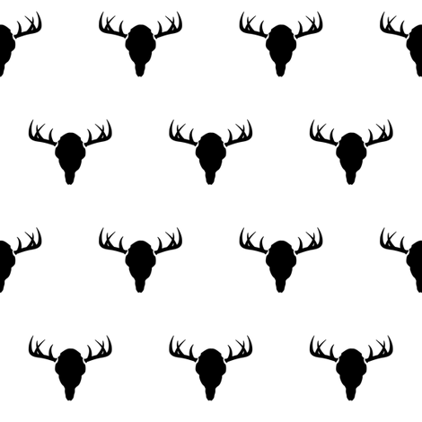 Black & white antlers fabric by coramaedesign on Spoonflower - custom fabric