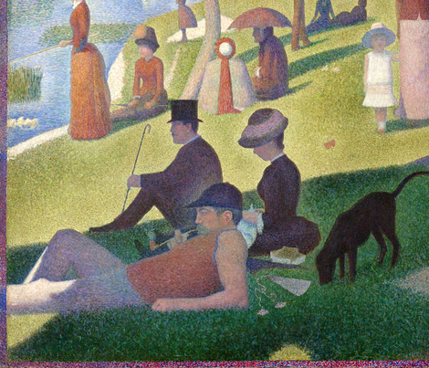 A Sunday Afternoon with a Blue Box - Georges Seurat - 1884 (large) fabric by studiofibonacci on Spoonflower - custom fabric