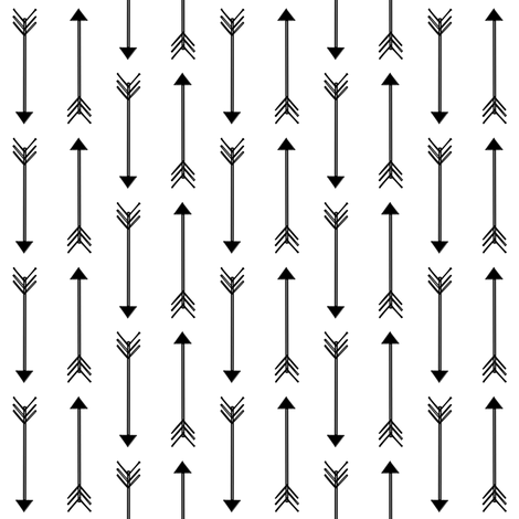 black and white sketched arrows fabric by coramaedesign on Spoonflower - custom fabric