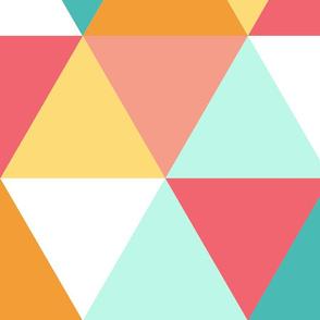 Triangle - girl teal pink orange