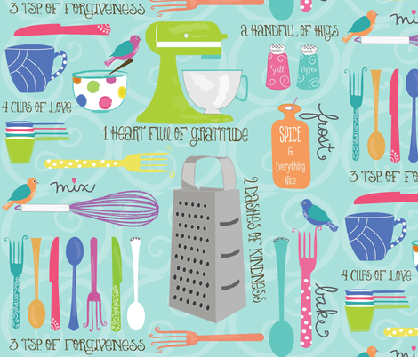 Domestic Bliss: Ingredients for JOY fabric by tamagrams on Spoonflower - custom fabric