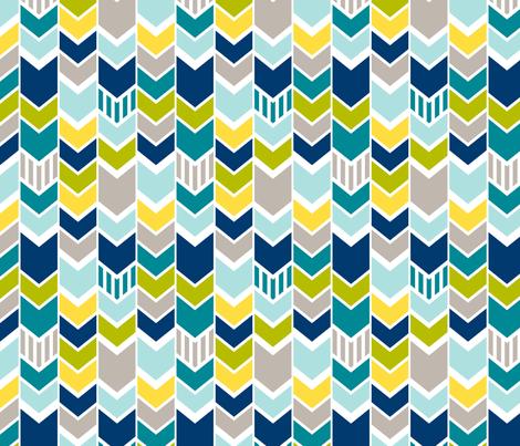 Custom Blue Green Chevron (Large) fabric by mrshervi on Spoonflower - custom fabric