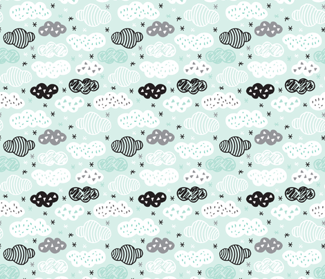 geometric pastel sleepy blue sky cloud pattern fabric by littlesmilemakers on Spoonflower - custom fabric
