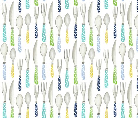 Picnic Utensils fabric by jillbyers on Spoonflower - custom fabric